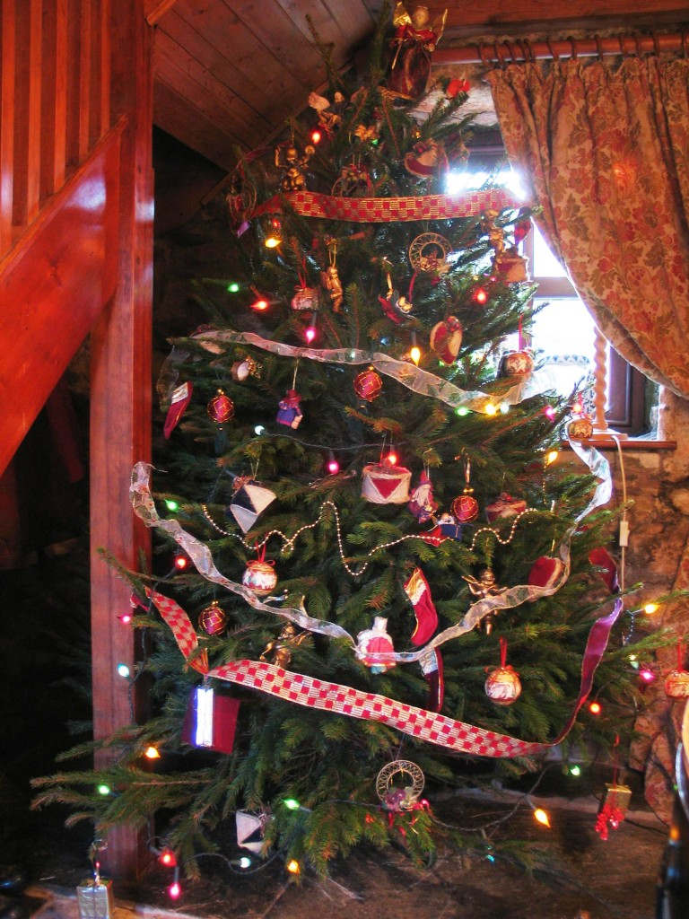 Traditional Christmas tree in a Farmhouse hall