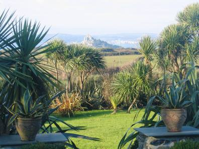 Sub tropical planting framing a view to St Michael's Mount