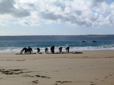 A surf school training before entering the sea at Perranuthnoe