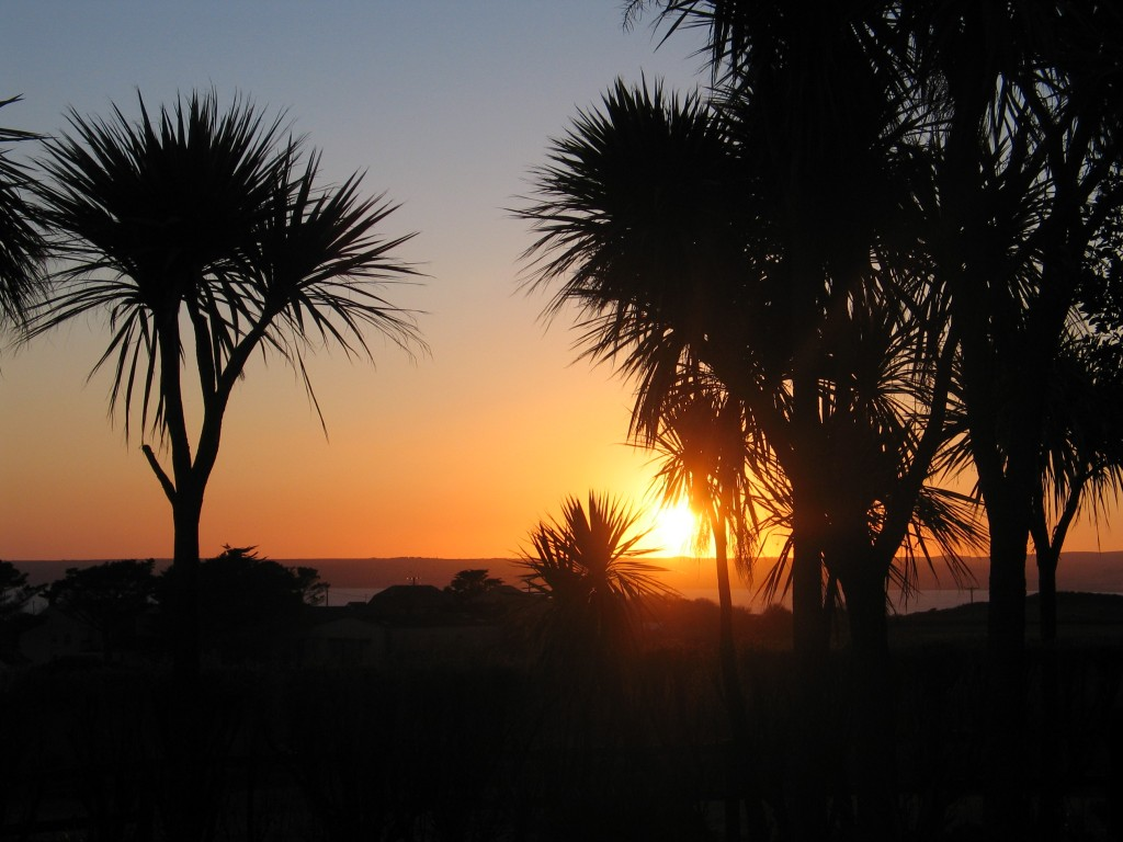 Sunset across Mounts Bay from Ednovean Farm