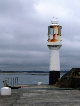 The lighthouse at the end of Albert Pier at Penzance Harbour