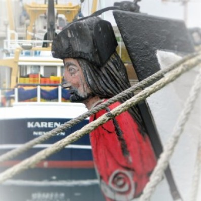 A traditional carde figurehead seen of a sailing ship in penzance