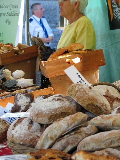 Freshly baked bread in Penzance's farmers market