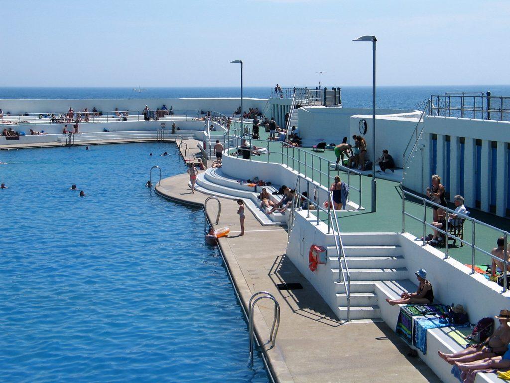 The newly restored art deco ubilee Pool on Penzances promenade
