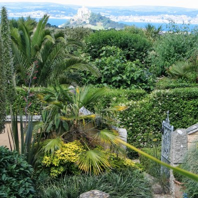 Ednovean Farm's garden above Mounts bay in July