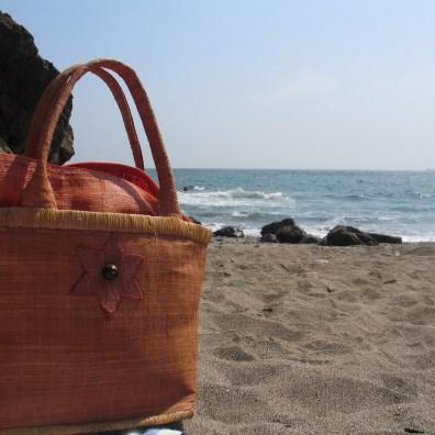My trusty beach bag on a sandy cornish beach