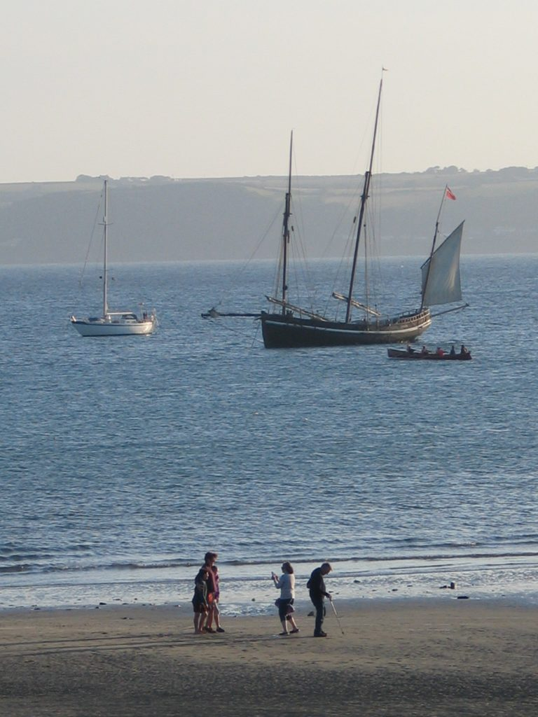 A lugger moored just off of Marazion beach