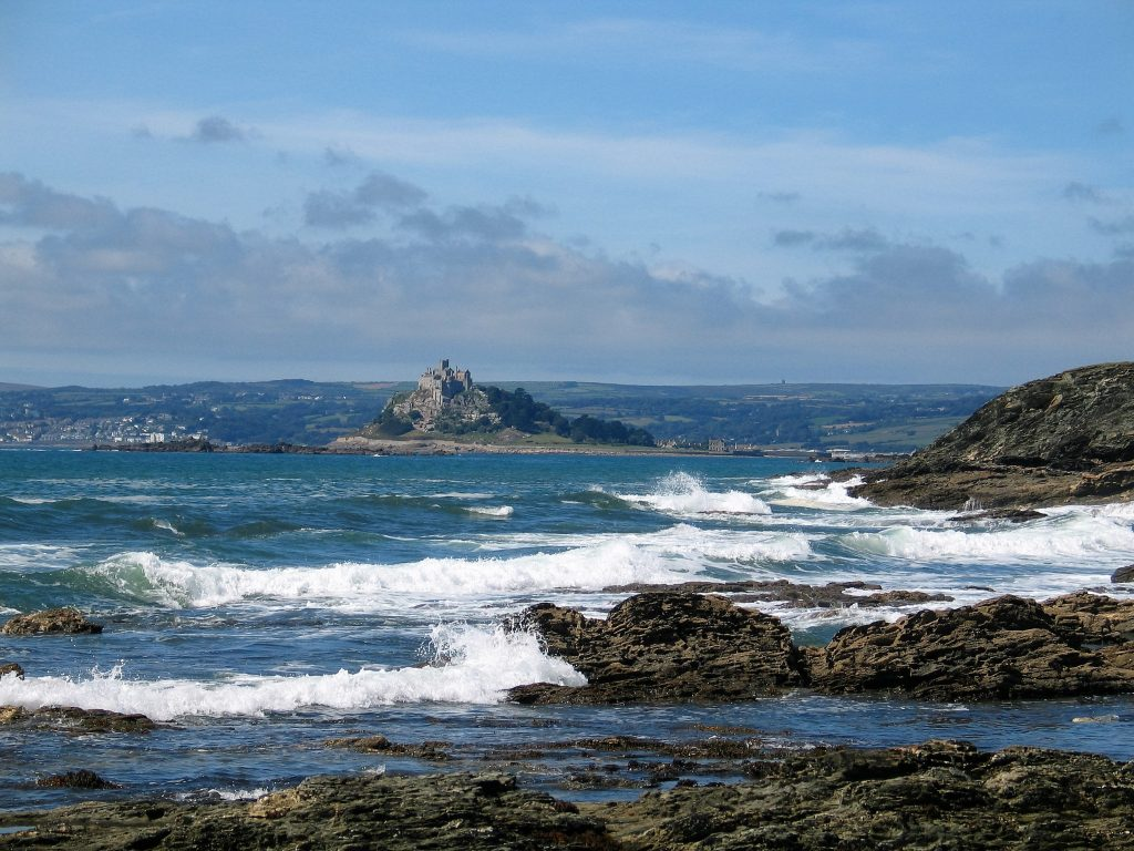 The waves utumbling across beautiful Mounts bay for a classic cornish day beside the sea