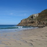 Isolated sandy Cove in west Cornwall