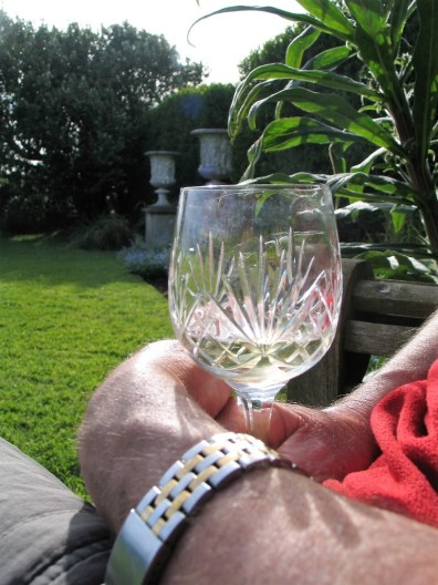 Wine glass in the garden