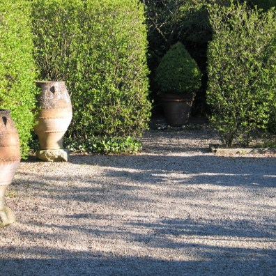 Greek pots and spring shadows on the terrace