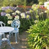 table set under a garden wall