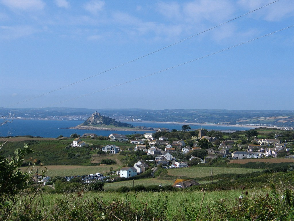 Perranuthnoe and St Michael's Mount - blue Mounts Bay