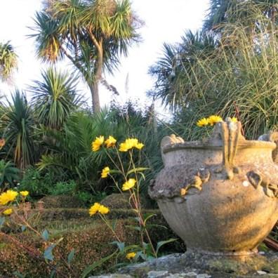 Golden October light on an urn