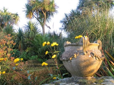 Golden October light on an urn