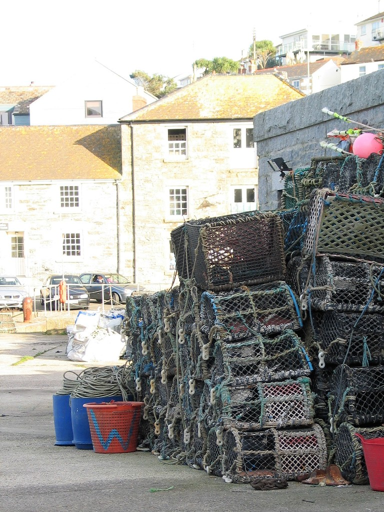 Lobster pots staked near Porthleven Harbour
