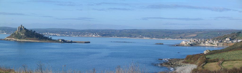 Mounts Bay and St Michael's Mount in wet Corwnall