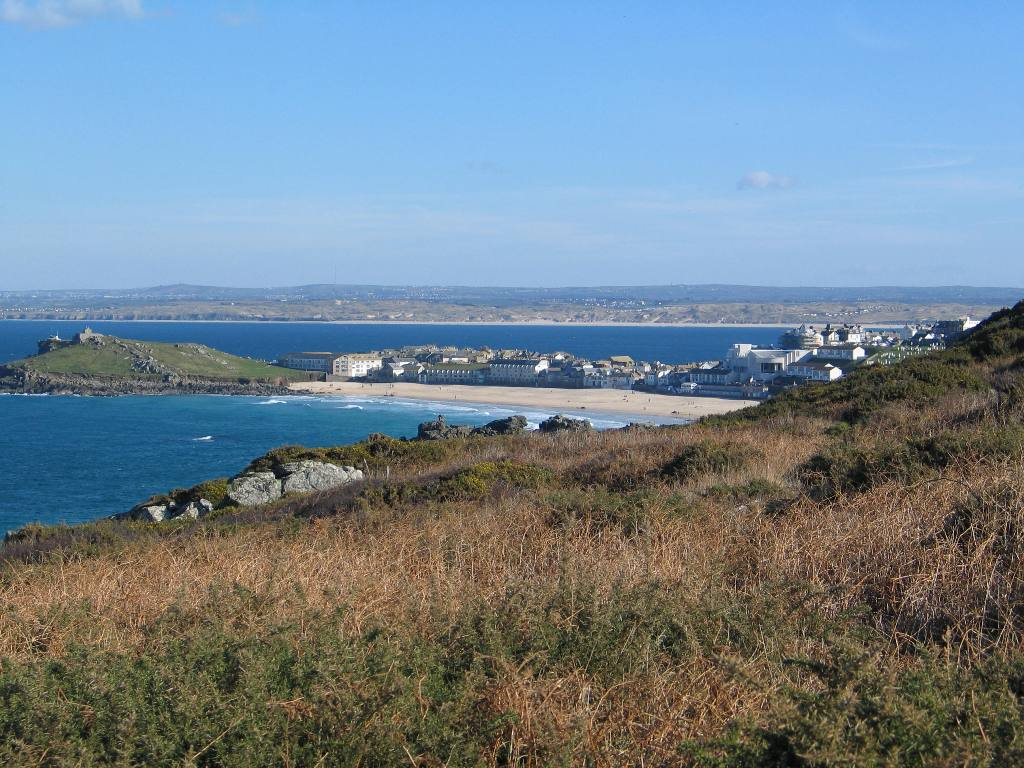 Walk the cliffs and discover the beautiful sandy bay of St Ives below