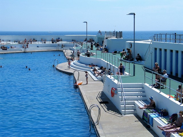 Art Deco Lido filled with sea water