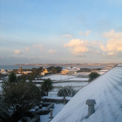 Roof top view over the sundial garden out across Mounts bay