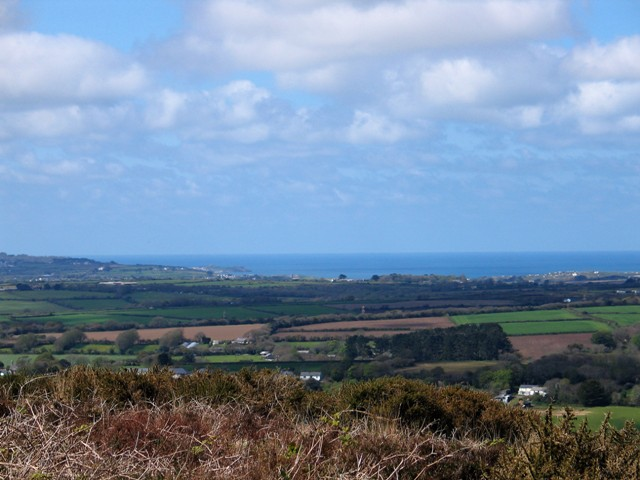 From the high vantage point of Godolphin hill teh sea on teh north coast came into view
