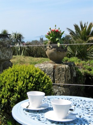 teacups,topiary, tulips and view to church