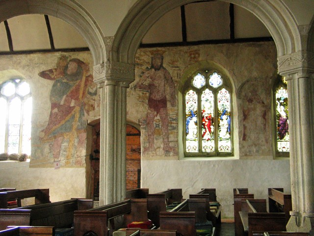 Church interior with faded Frescoes