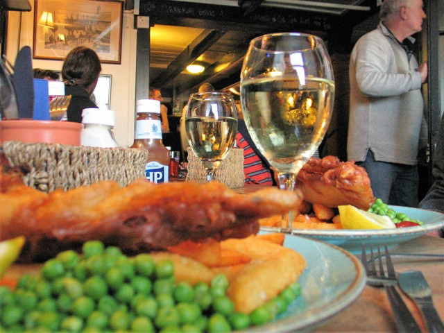 Traditional fish and chips in harbourside pub
