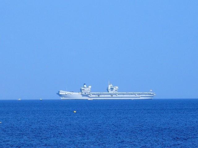 queen elizabeth aircraft carrier off of Newlyn