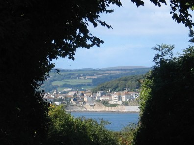 Coastal town glimpsed through trees Marazion