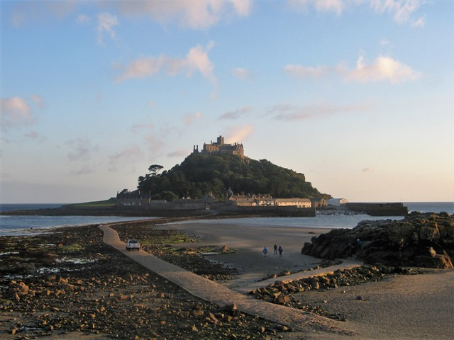 St Michael's Mount at low tide in the autumn dusk
