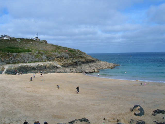 Sandy beach of Porthgwidden just below the Island in St Ives