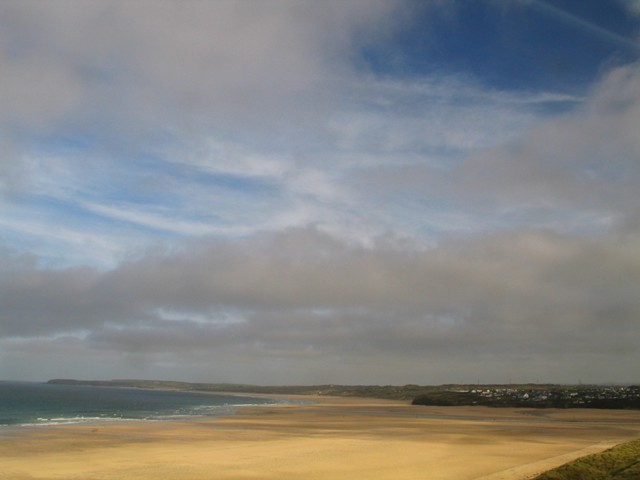 Fabulous sky above golden sands -view from the train to St Ives