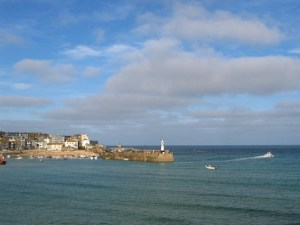 Looking back to St Ives harbour as the sea come back