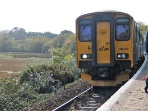 Train arriving at Lelant Saltings