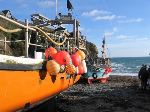 Fishing boat with buoys Cadgwith