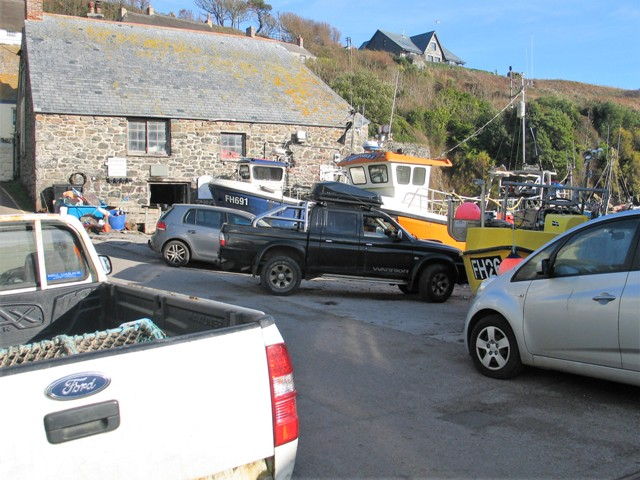 Village street with Pick up trucks Cadgwith
