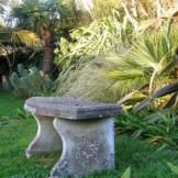Stone garden bench - november garden diary