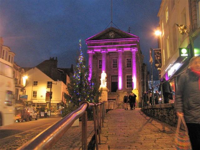 Christmas flood lights on an Old building