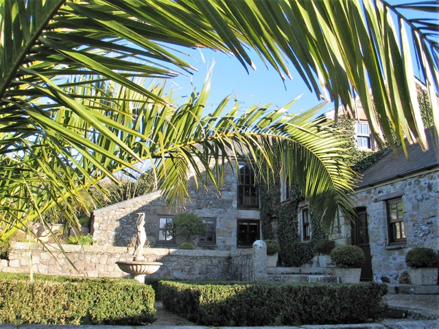 Date Palms formal parterre and fountain - ednovean courtyard garden