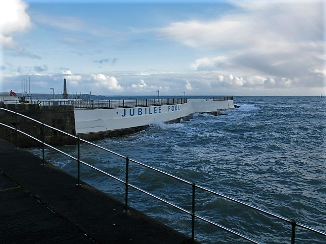 waves running beside the Jubilee Pool