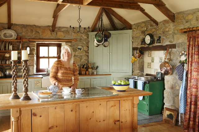 Kitchen with green Rayburn