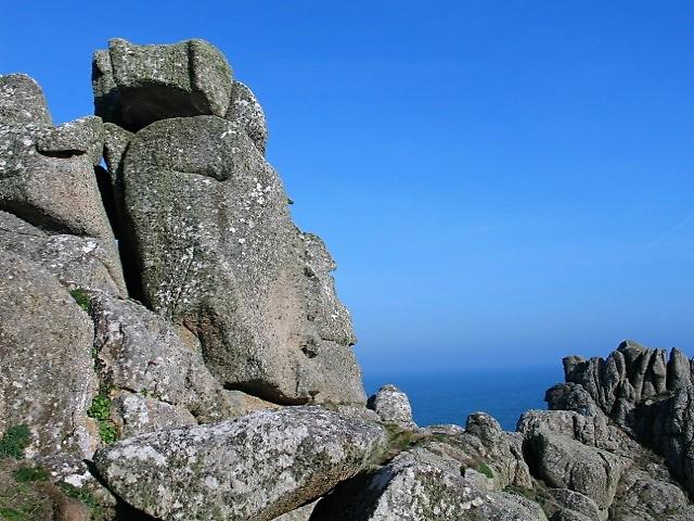 The granite cairn of Logan Rock