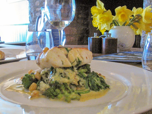 Hake on a bed of vegetables - lunch at the Old Coastguard Mousehole
