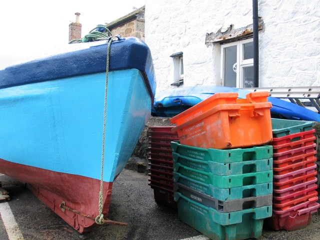 fishing boat and fish boxes