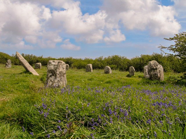 Springtime in Cornwall and teh stone circle of Boscawen-un is decked in bluebells
