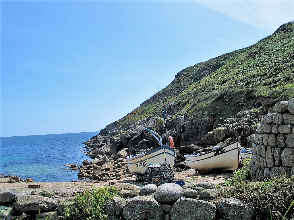 Penberth cove in West Cornwall - fishing boats on the slipway