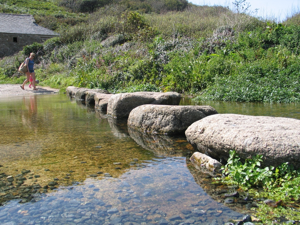 Stepping stones through the stream at Penberth