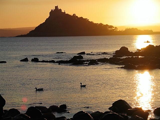 Sunset illuminating St Michael's Mount