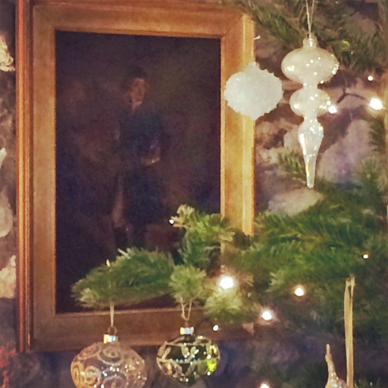 Mixing new and old for Christmas inspiration - baubles and oil painting